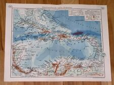1937 MAP OF WEST INDIES CARIBBEAN ANTILLES PUERTO RICO BAHAMAS