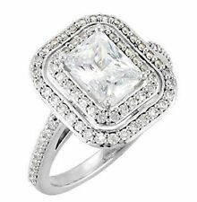 1.51 ct Classic Emerald Cut Diamond Halo Engagement Wedding Ring  14k White Gold