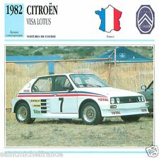 CITROËN VISA LOTUS 1982 CAR VOITURE FRANCE CARTE CARD FICHE