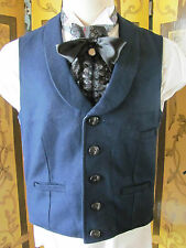 Vintage Classic Steampunk Old West Dark Blue Wool Vest With Lapels SzS (38.5)