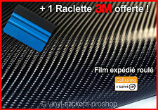 Film Vinyle Carbone 4D Noir 152cm x 50cm Thermoformable Sticker Adhésif Covering