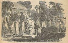 A3954 Donna indiana sepolta viva - Incisione - Stampa Antica del 1889