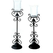 (Set of 2) Black Wrought Iron Floor Candle Holders w/Crackle Glass Candle Cups
