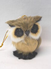 Sitting Owl Soft Furry Body Christmas Tree Ornament 2 1/2 In String to Hang New