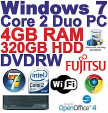 Windows 7 Core 2 Duo  Desktop PC Computer - 4GB DDR3 - 3200GB DVDRW- Wi-Fi
