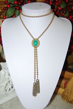 VINTAGE AVON LARIAT NECKLACE GREEN FAUX JADE CENTERPIECE & GOLD TONED METAL BEAD