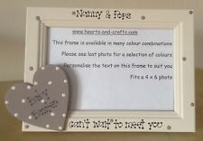 "Personalised Baby photo frame  6"" x 4"" for Nan Grandad Gran  scan photo Heart"