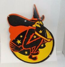 Vintage Halloween Die-Cut Decoration with Witch on Broomstick,  H. E. Luhrs USA