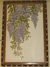 Antique 'Hanging WISTERIA vine' OIL PAINTING on MILK GLASS - Boston Victorian