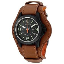 $350 Victorinox Swiss Army Mens Brown GMT Leather Dial Watch Authentic 241593