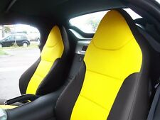 SATURN SKY 2007-2010 BLACK/YELLOW S.LEATHER CUSTOM MADE FRONT SEAT COVER