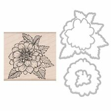 2017 Hero Arts ARTISTIC DAHLIA rubber stamp + DIE combo SB154 flower frame cuts