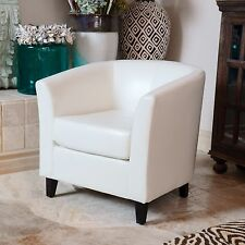 Contemporary Style Ivory Leather Tub / Barrel Design Club Chair