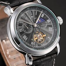 KS Navigator Mens Black Tourbillon Automatic Mechanical Leather Sport Watch