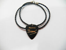 """BEYONCE KNOWLES Guitar Pick plectrum signature gold stamp 20"""" leather NECKLACE"""