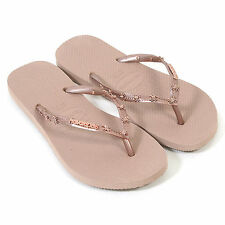 Havaianas Women's Slim Hardware Spider Slip On Rubber Flip Flop Rose Gold 39/40