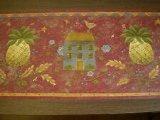 Country Border with House & Pineapple on Burgundy by Brewster  245B57456