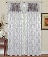 Single (1) Window Curtain Panel with Attached Valance:Rod Pocket,Silver and Gray
