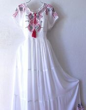 NEW~Long White Red Black Embroidery Peasant Empire Maxi Boho Dress~12/14/L/Large