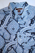 MICHAEL KORS TAILORED FIT BLUE PAISLEY LONG SLEEVE MEN'S SHIRT Sz L  $148