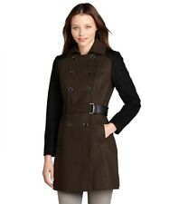 NWT LADIES DKNY Military Green and Black COLORBLOCK BELTED TRENCH COAT sz - 10