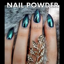 Mirror Chrome Effect Nail Powder Pigment No Polish Foil New Purple Green Nails