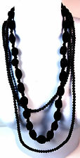 ELEGANT BLACK MULTI BEADED / BALL CHUNKY DOUBLE NECKLACE BRAND NEW UNIQUE (A10)