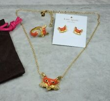 Kate Spade Into the Woods Fox Necklace Earrings and Ring set Size 6