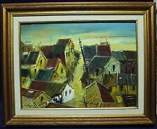 """Framed Oil Painting On Canvas - Colourful House Rooftops - Signed """"Manson"""""""