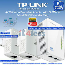 TP-Link AV500 Nano Powerline Adapter with 300Mbps 2-Port Wi-Fi Extender Plug X 3
