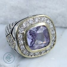 Silver Plated - Gold Accent Purple Rhinestone COCKTAIL - Ring (6)