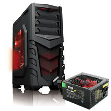CIT Vanquish Red LED ATX USB3 Gaming Tower PC Case Including PSU and Side Window