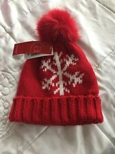 New Women's Red Wollley Snowflake Hat One Size With Furry Pom Pom