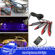 4pcs Multi-color Car Fender Wheel Eyebrow Protector LED Lights W/ Remote Control