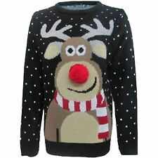 New Womens Mens Reindeer Pom Pom 3D Nose Snowflakes Christmas Jumper Unisex Top