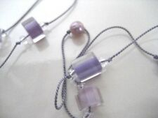 "Handmade 19"" GLASS & PEARL BEAD FLOATING knotted cord NECKLACE Pink Lavender"