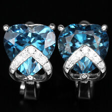 Sterling Silver 925 Stunning Genuine Heart Faceted London Blue Topaz Earrings