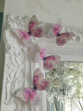 4 Shabby Chic Pink Cabbage Rose 3D Butterflies Wedding Girls Bedroom Furniture