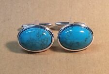 Turquoise Magnesite Oval Cufflinks, Silver finish.
