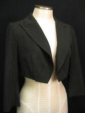 Nanette Lepore Charcoal Grey Cropped Short Bolero Blazer Jacket Size 6