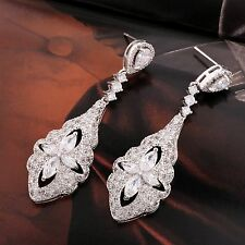 Vintage lady silver tone sapphire  crystal bridal long chandelier drop earrings