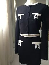 Sass and Bide Suit in Black and Cream Cropped Long Sleeve Jacket and Mini Skirt