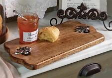 Mud Pie Fleur de Lis French Mango Wood Scallop Cutting Board Serving Platter New