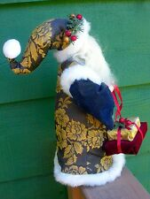 SANTA CLAUS Tree Topper- Green Floral Victorian Design On Fabric- Fur Trim,