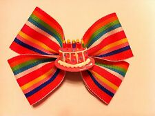 """Girls Hair Bow 4"""" Wide Multi Colored Stripe Birthday Cake Solid Alligator Clip"""