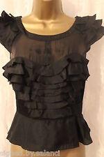 Karen Millen Peplum Ruffle Frill Cap Sleeve Silk Insert Top Blouse Shirt 10 38