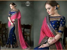 Designer Wear Dark Pink and Blue Stylish Saree