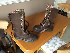 Dr Martens 1914 brown wyoming polished floral boots UK 5 EU 38 punk goth biker