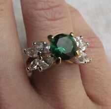 EDCO Gold Over Sterling Silver 8mm Round Emerald Cubic Zirconia Ring, sz 6
