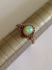Pretty Antique 9ct Gold Natural Cabouchon Opal Set Ring - Circa 1900